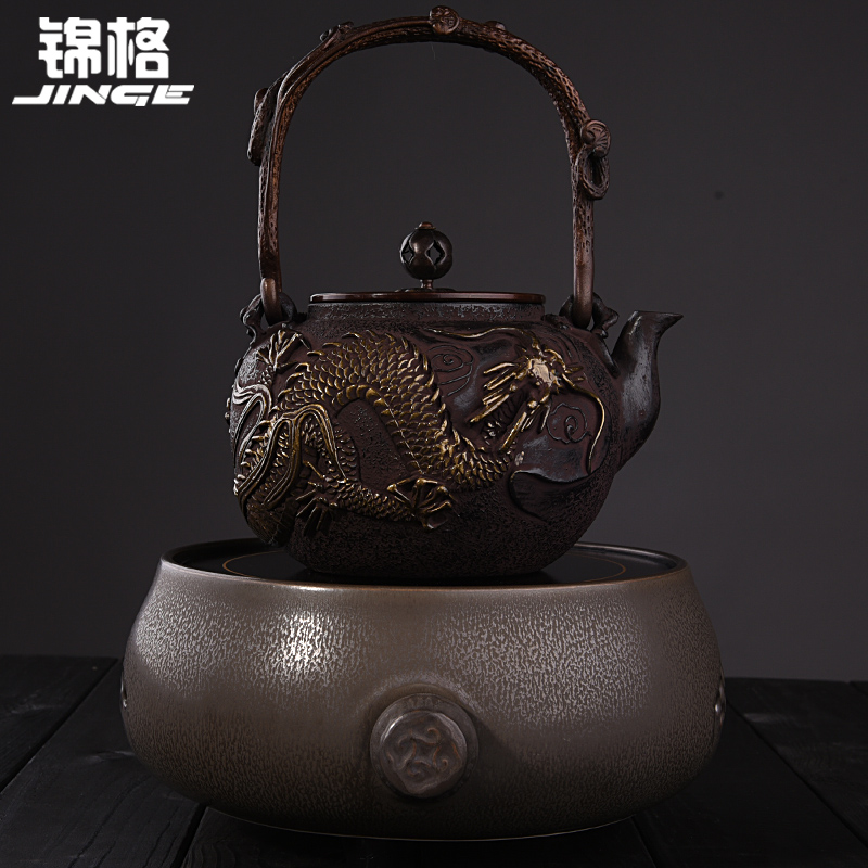 Kam grid southern japan uncoated cast iron kettle old iron kettle tea kettle electric ceramic stove cast iron pot suit