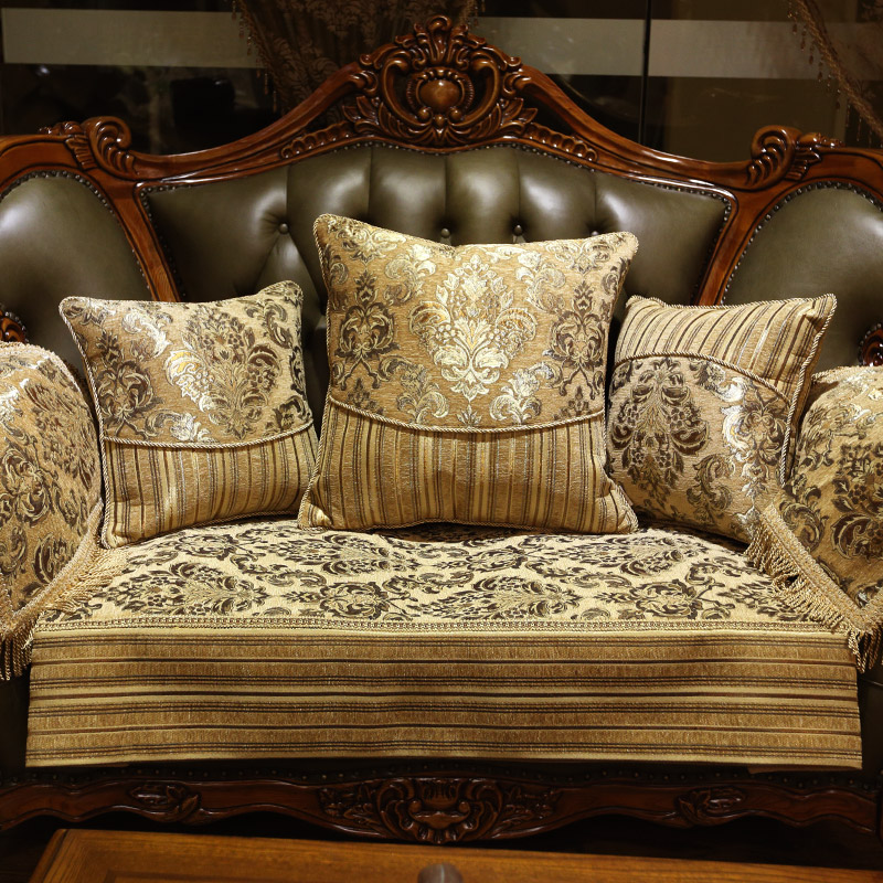 Kang sili european living room sofa cushion slip leather sofa cushion covers four seasons luxury fabric sofa chaise sofa cushion