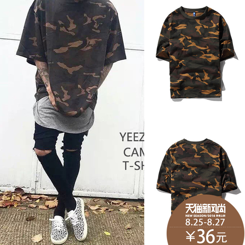 Kanye kanye west camouflage male and female couple short sleeve t-shirt loose cotton plus fertilizer xl five seven points sleeve