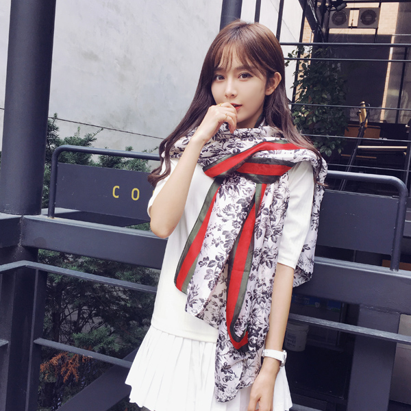 Karaya new autumn and winter fashion red edge leaves sided printed scarves scarf shawl ms. fall and winter