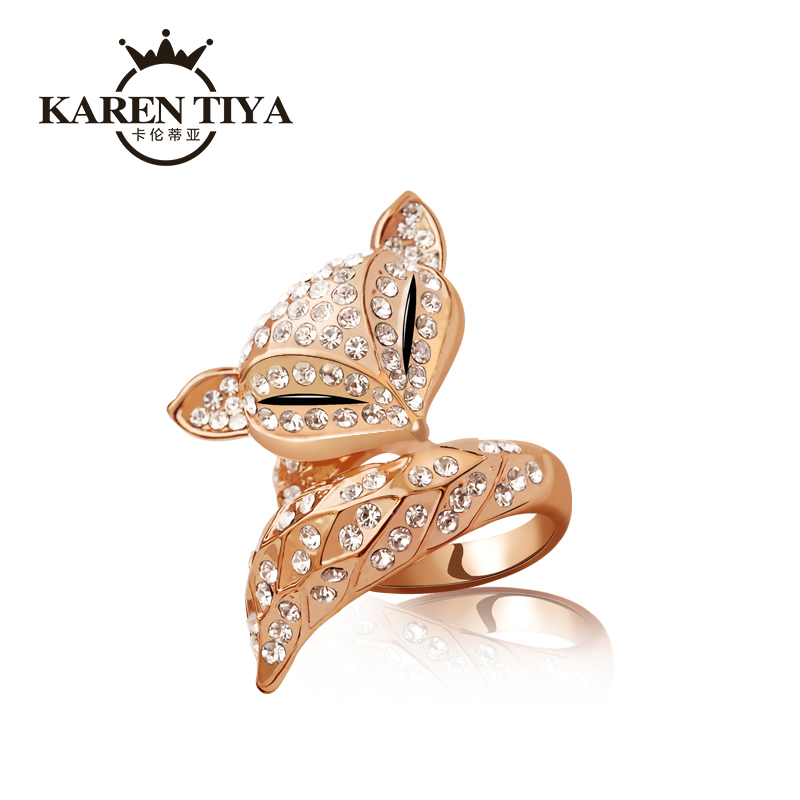 Karen罗蒂亚charm fox rings jewelry ring korean version of the influx of people decorative color gold plated 18 k rose gold nvjie