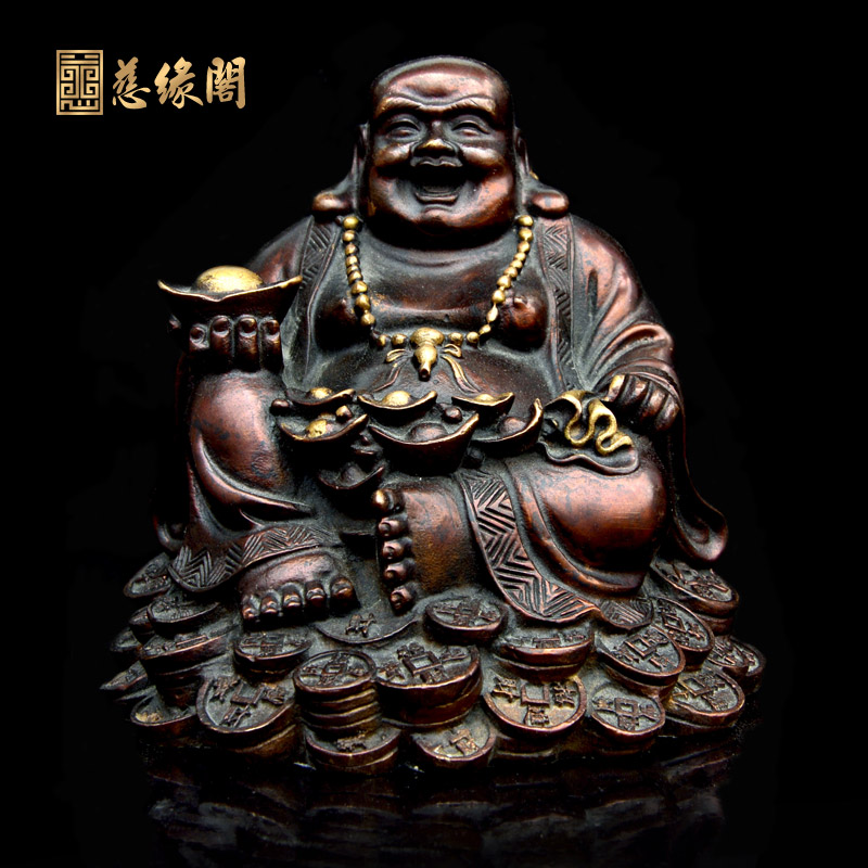 Karma ranking copper lucky laughing buddha maitreya buddha ornaments crafts auspicious feng shui home decor furnishings