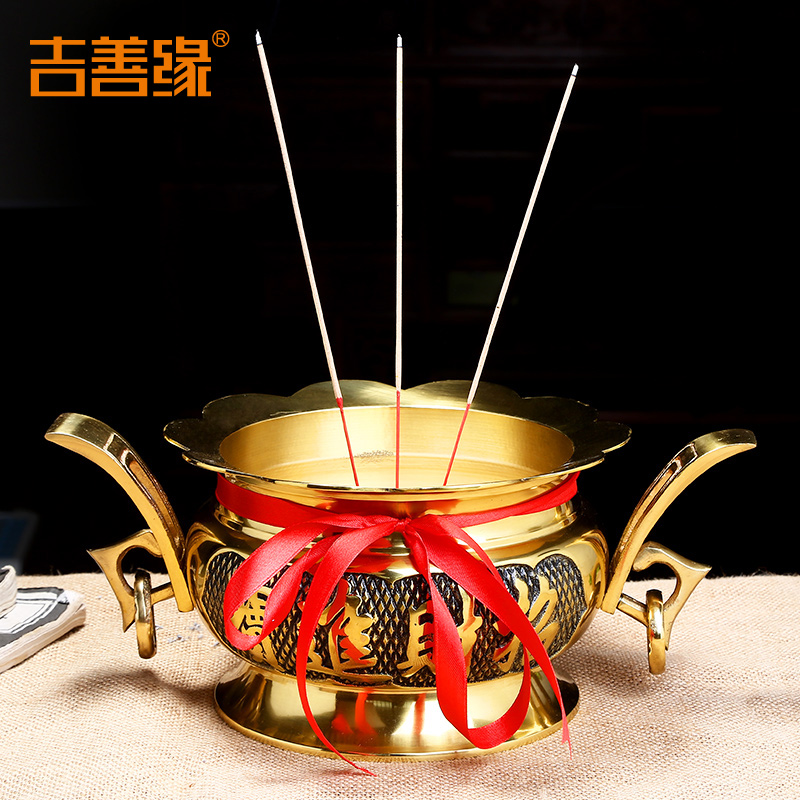 Kat karma copper feng shui buddha buddha buddha with lotus incense censer dual earrings for incense censer vaporizer 0701