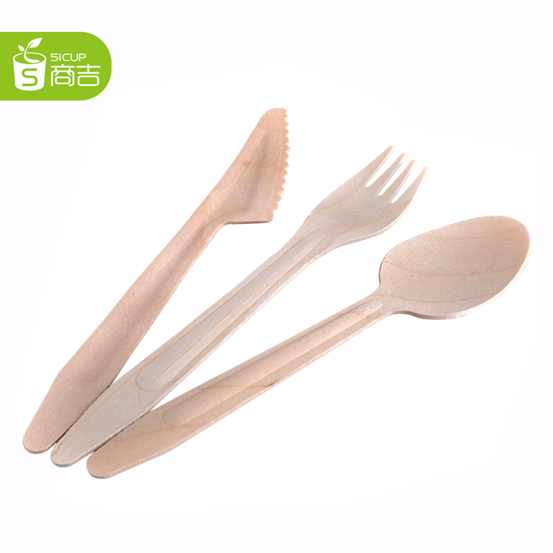Kat providers disposable wooden spoon cake dessert spoon fruit fork western knife and fork spoon knife wholesale 1000