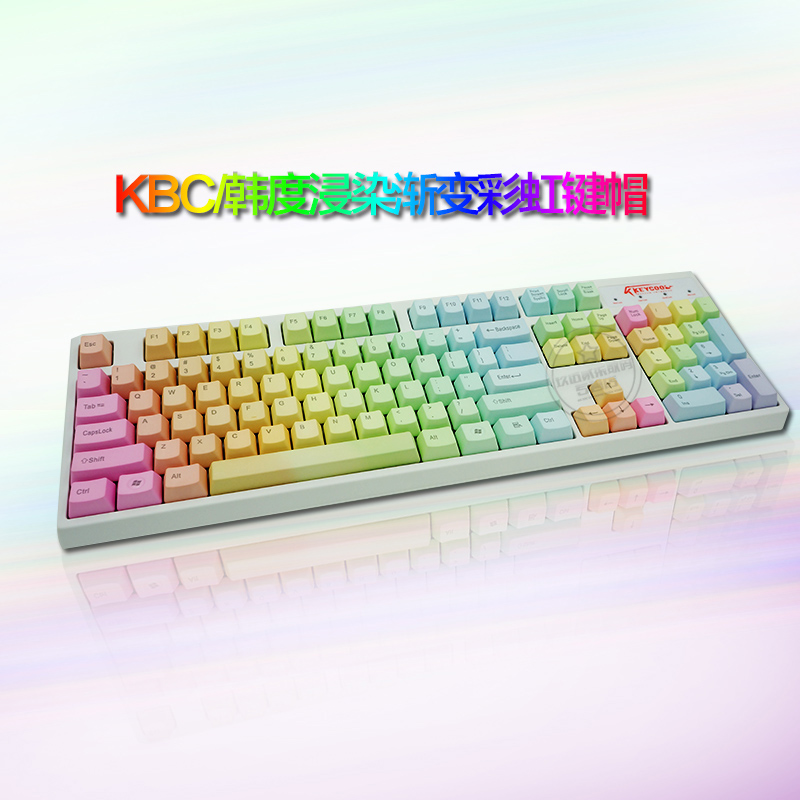 Kbc/han 361-degree endodermic gradient rainbow mechanical keyboard keycaps 87/104/108 key pastel pbt keycaps suit