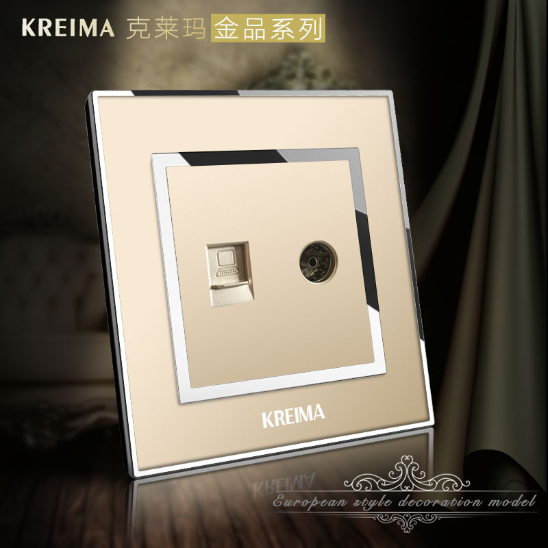 Ke laima crystal champagne gold computer tv socket/network + cable/broadband internet + tv panel