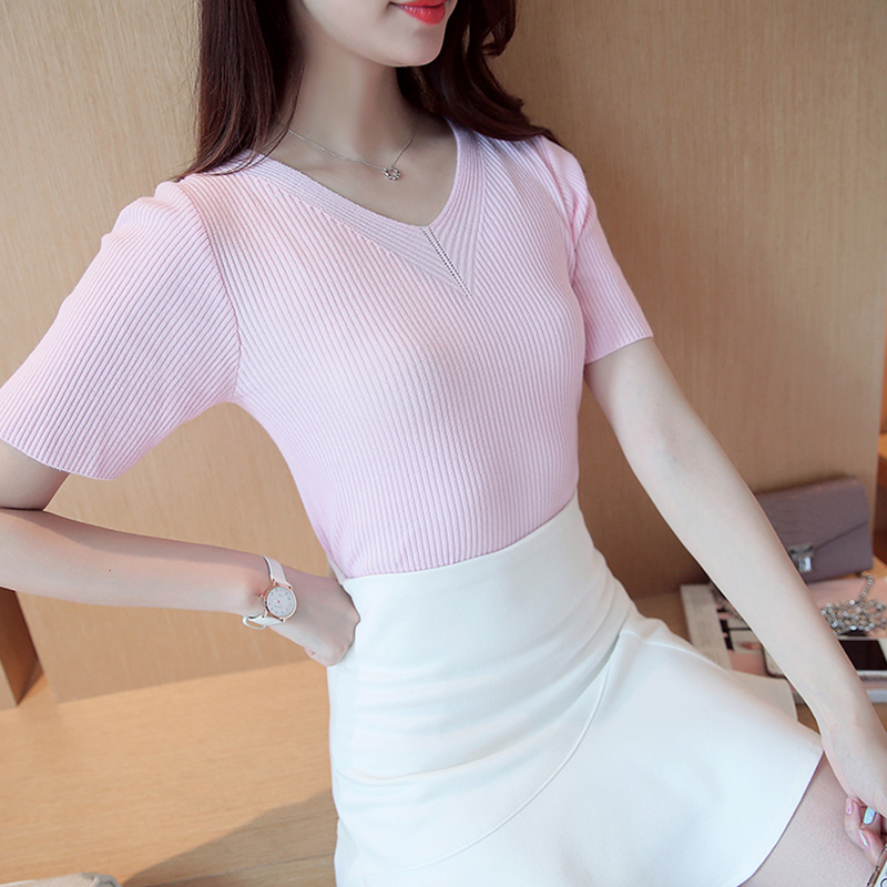 Kelly ting 2016 summer new korean version of ms. short sleeve women's sweater jixin ling bottoming dress