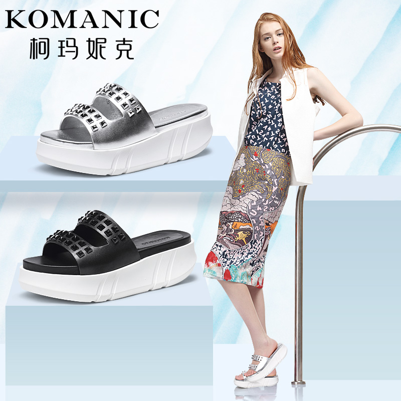 Kema penny 2016 summer casual leather flat shoes new rivets thick crust leather sandals a font