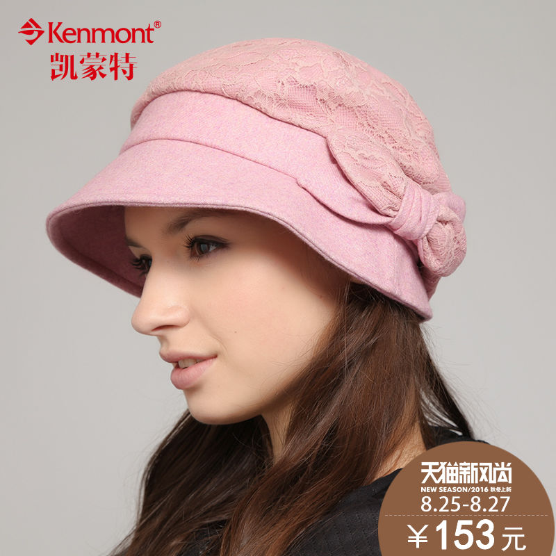 a6208e29792 Kenmont autumn and winter hat female korean tide lace ladies fashion solid  color beret hat pots
