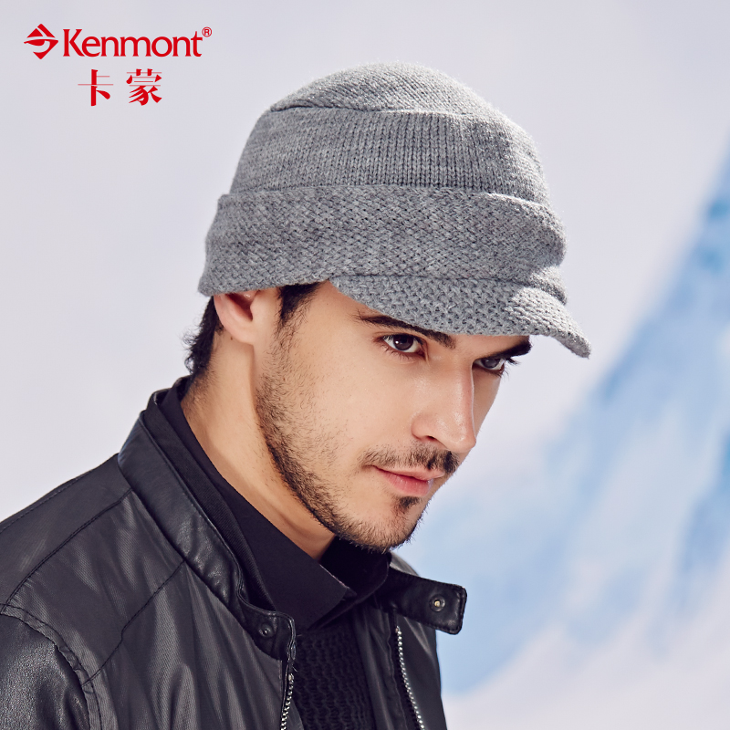 Kenmont winter hat male outdoor cap flat cap korean version of the influx of solid color knit wool cap hat baseball cap