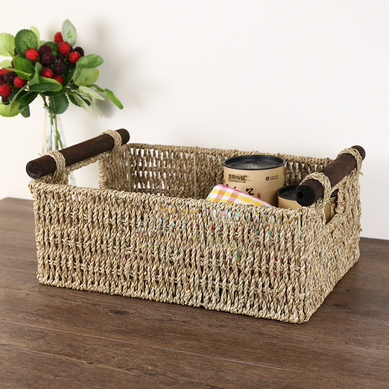 Kens straw handmade american wood handle common snack debris storage basket rectangular storage baskets