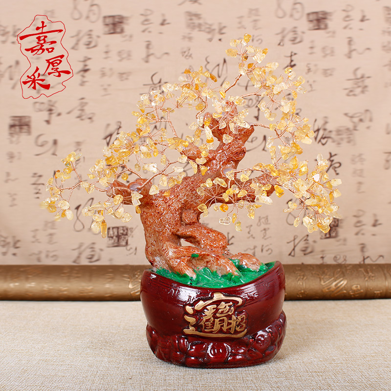Kerry thick gold mining natural crystal lucky tree ornaments home feng shui fortune lucky tree 965