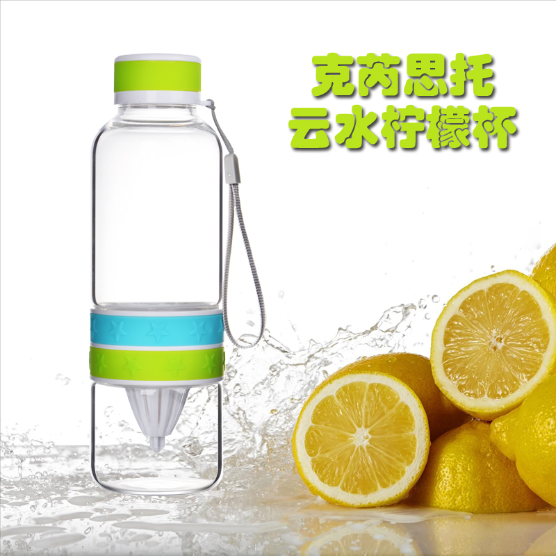 Keruisituo portable creative couple cups transparent heat resistant glass cup lemon juice cup juice cup with hand