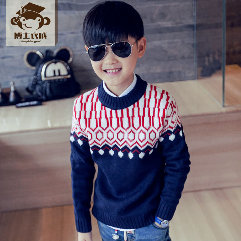 Kids 2016 spring and autumn korean boys round neck big boy sweater children sweater baby sweater hedging sweater coat male tide