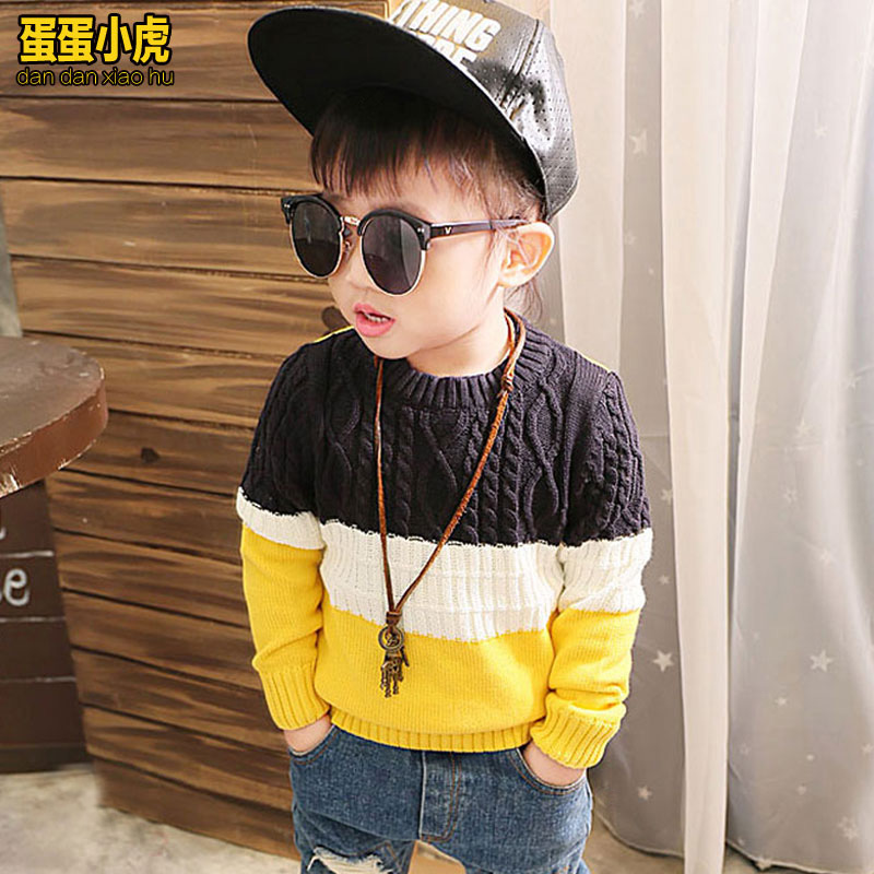 Kids big virgin boy sweater spring and autumn twist spell color sweater hedging children needle woven shirt korean cotton sweater