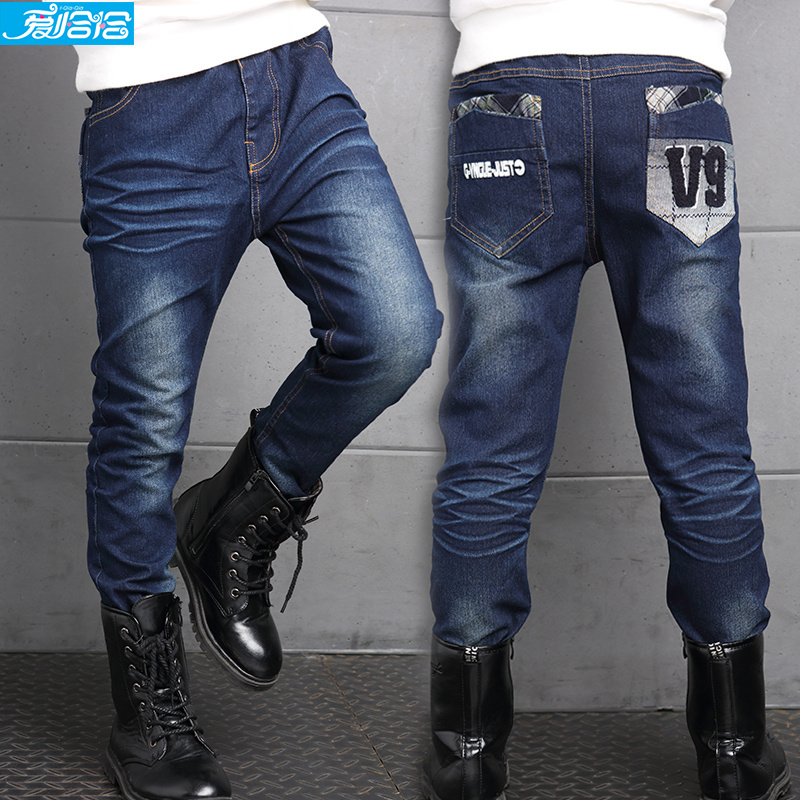 Kids boy pants spring 2016 new big virgin casual jeans spring and autumn paragraph boy pants children pants