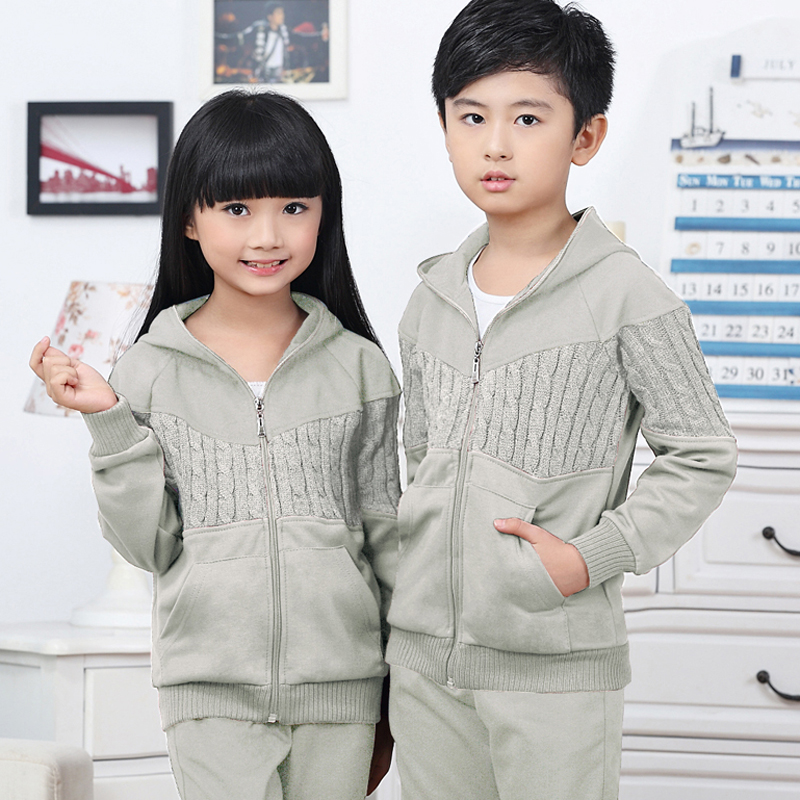 Kids boys family fitted new spring and autumn hooded sports suit kids girls large child piece