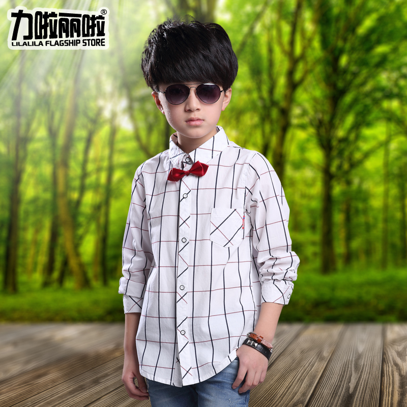 Kids boys spring 2016 korean version of sleeved striped plaid shirt spring and autumn big boy shirt children shirt