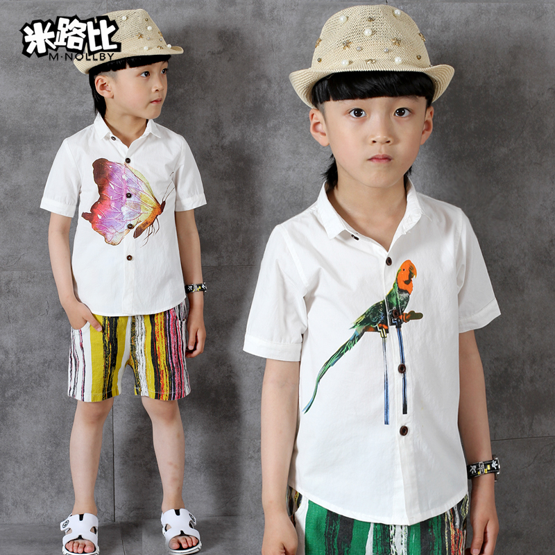 Kids children's summer 2016 new boys short sleeve shirt sleeve shirt big virgin boys cotton shirt tide