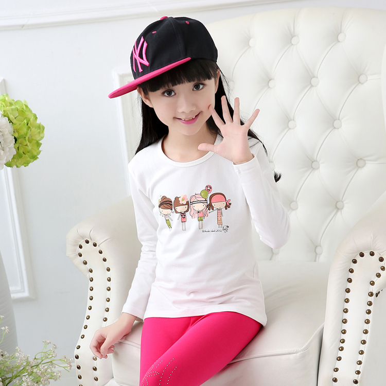 Kids girls 2016 spring new long sleeve t-shirt big virgin child comfortable cotton round neck in thick section bottoming shirt