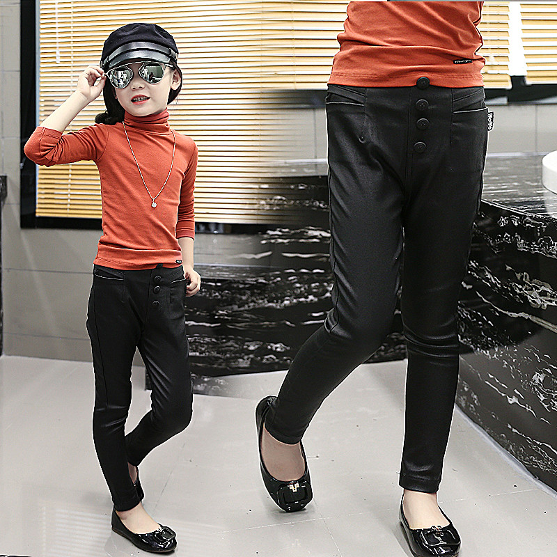 a12fea92b Get Quotations · Kids girls autumn 2016 autumn new children's leggings girls  big boy pants leather pants leather pants
