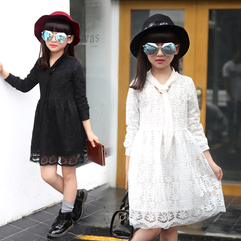 Kids girls autumn 2016 new girls dress in spring and autumn long sleeve lace dress child princess dress children dress tide