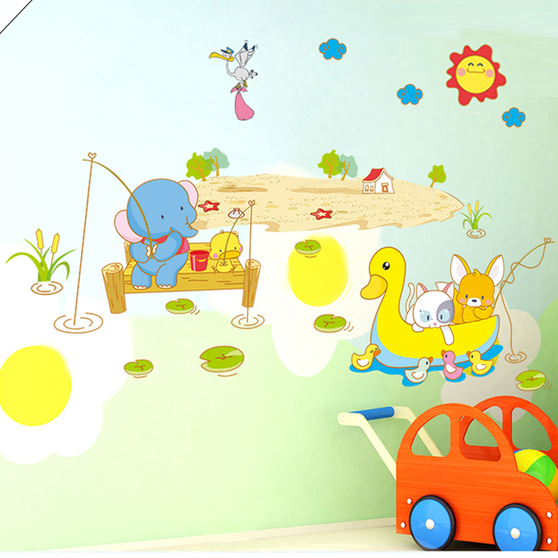 Kindergarten children's room bedroom living room removable wall stickers cute klimts duck elephant fishing cartoon animals