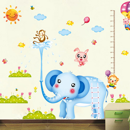 Kindergarten children's room wall stickers free shipping klimts superlarge amount of height stickers decorative stickers cute animal elephant
