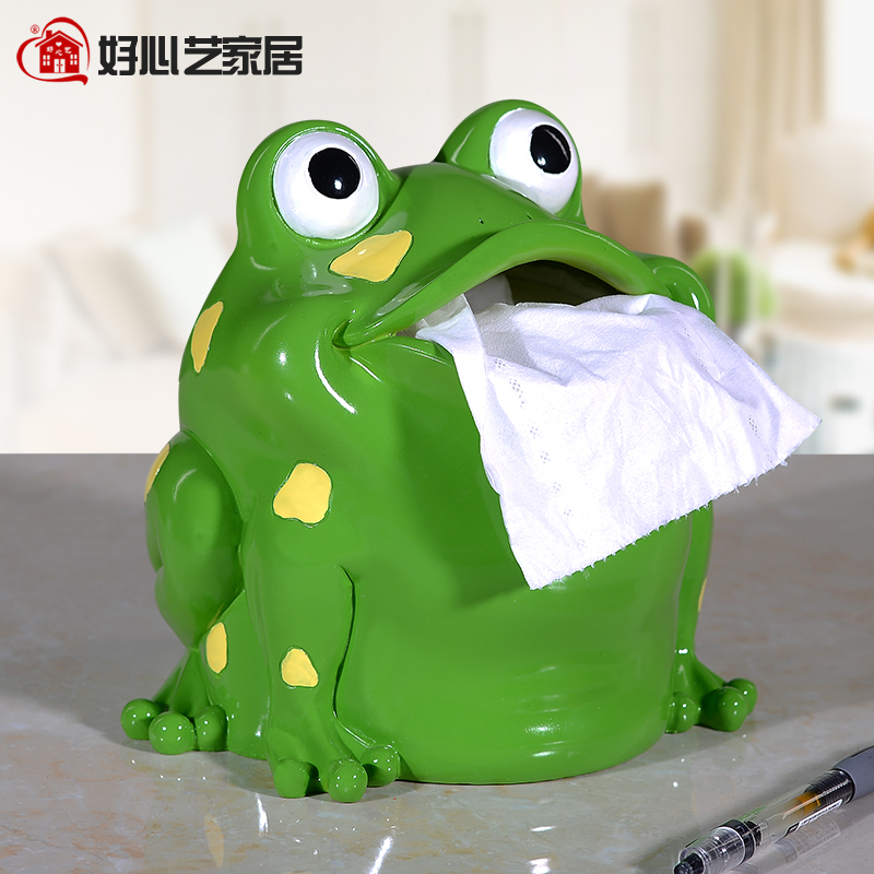 Kindly arts resin frog cartoon tissue box tissue box rolls of toilet paper box creative home desktop office off the bathroom thick paper tube pumping