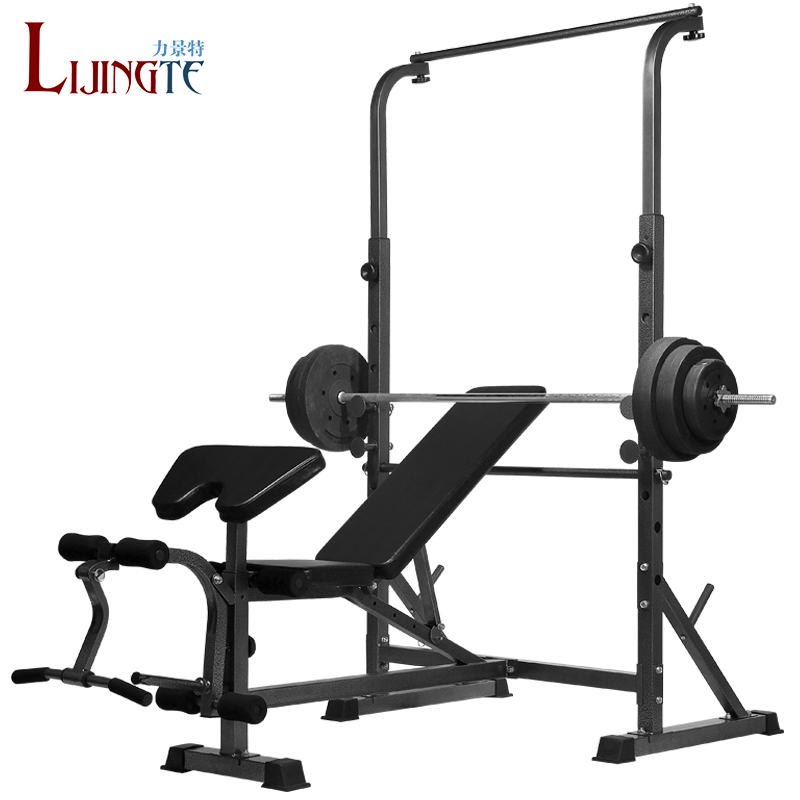 King special forces multifunction horizontal bar weightlifting bed bench barbell squat rack barbell bench press rack home fitness wood bed suite