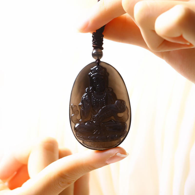 Kiss natural ice crystal treasure kinds of obsidian pendant carved pendant necklace pendant couple models of men and women fashion jewelry
