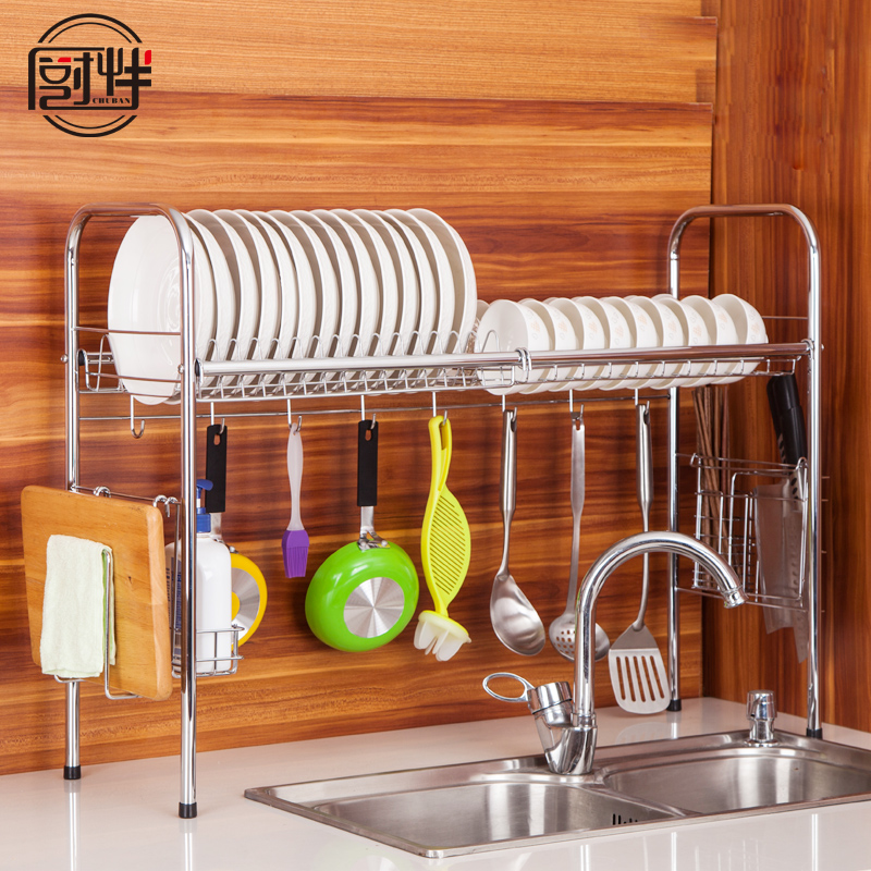 Kitchen with 304 stainless steel sink kitchen shelving rack drain dishes dish rack storage racks put dishes drip rack