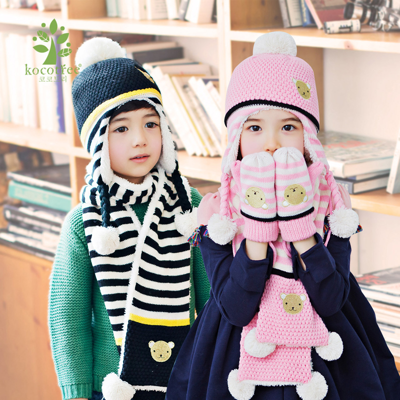 Kk tree child hat scarf gloves three sets of baby boys and girls dongkuan years old winter suit tide
