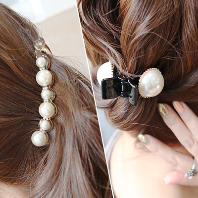 Know borderies faux pearl korean version of the large trumpet banana clip vertical clip ponytail clip hairpin korean small gripper hair jewelry woman