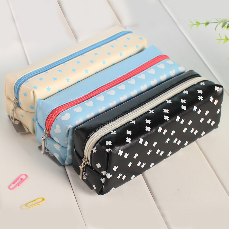 Korea creative simple pu leather pencil bag middle school students multifunction large capacity pencil case stationery zipper bag