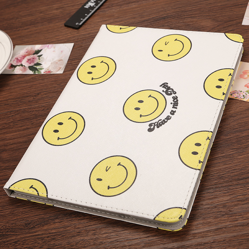 Korea fringed ipad air2 protective sleeve mini2/4 leather holster 5 ultra thin 6 mini 3 shell cartoon cute smiley 1