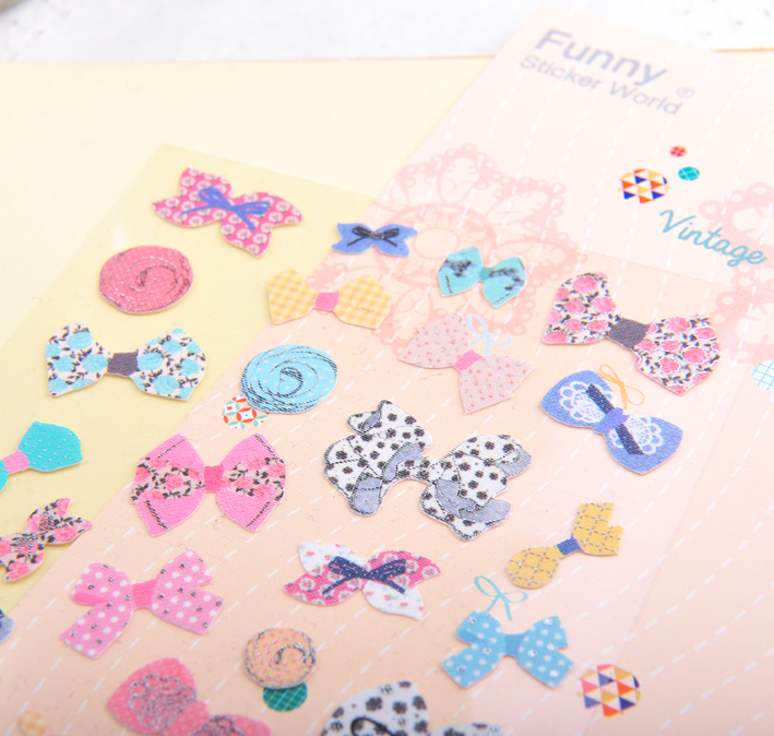 Korea funny phone stickers diary album diy accessories bow sticker paper cloth paper