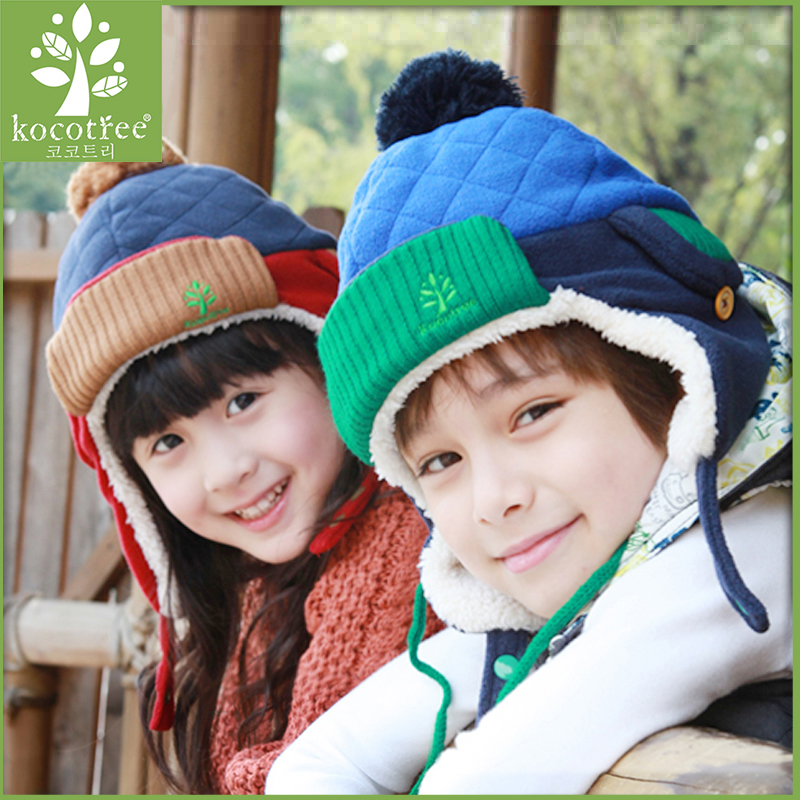 Korea kk tree child hat gloves piece baby boys and girls ear cap child warm autumn and winter edition tide