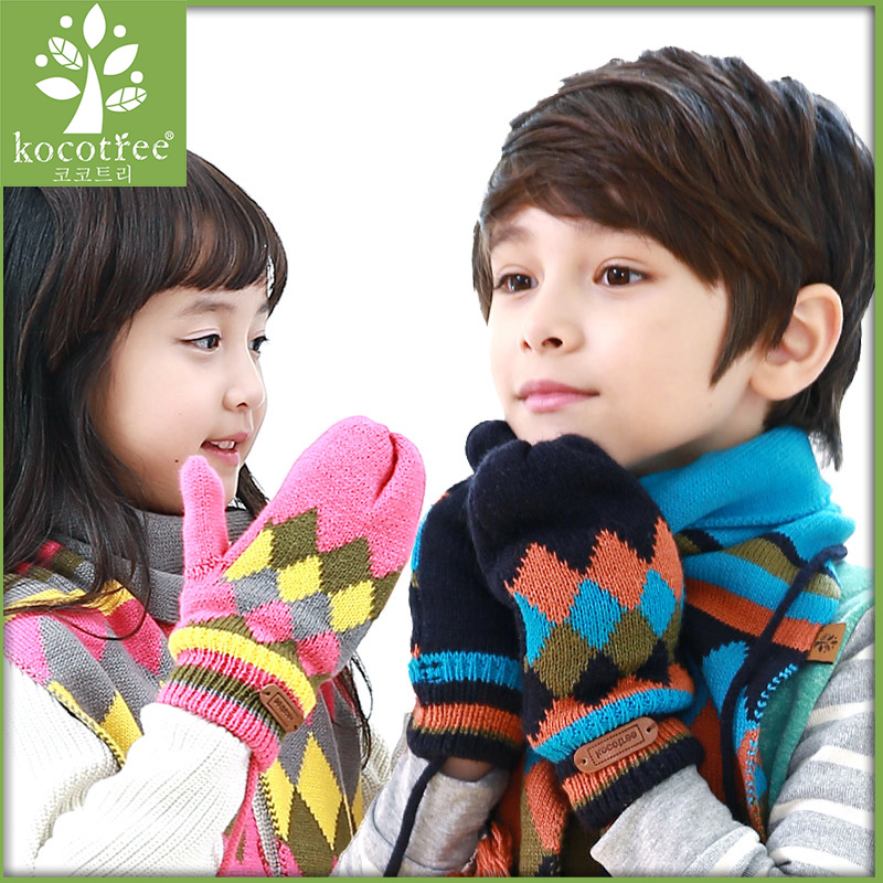 Korea kk tree new children's winter gloves knitted baby child warm gloves mittens boys and girls fall and winter