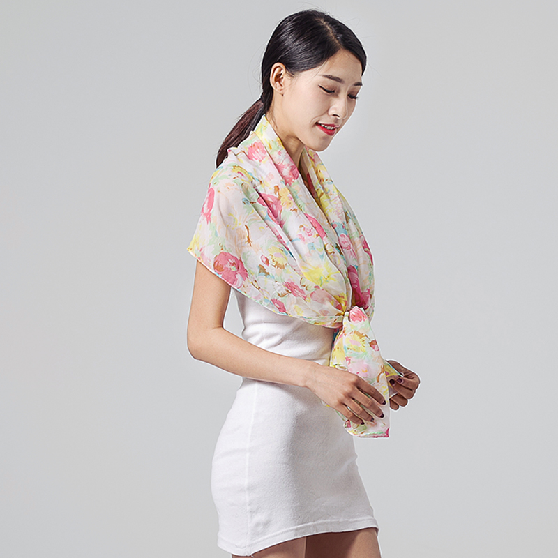 Korea pastoral floral chiffon scarf female summer sun scarf shawl spring and two with a long section of the seaside beach towel