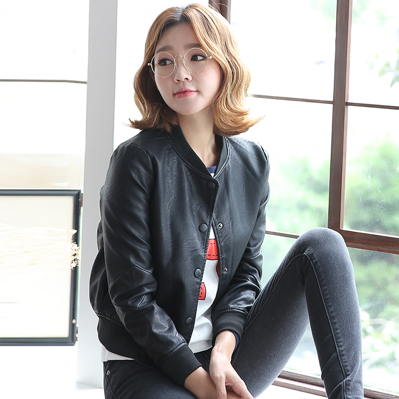 Korean autumn and winter small leather jacket women short paragraph slim plus velvet student baseball uniform jacket large size women pu leather motorcycle jacket