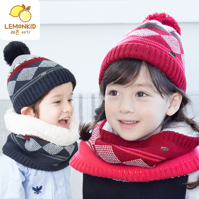 Korean baby hat scarf piece of autumn and winter boys and girls children autumn children's winter scarf hat wool hat tide