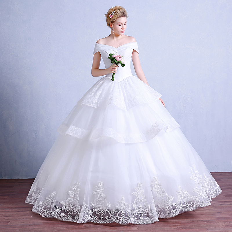 Korean bride wedding qi was thin lace wedding dress 2016 summer new word shoulder wedding dress big yards slim