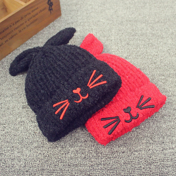 Korean children aged 6  winter plus velvet winter hedging wool hat baby hats for men and women paul warm wool cap pussies