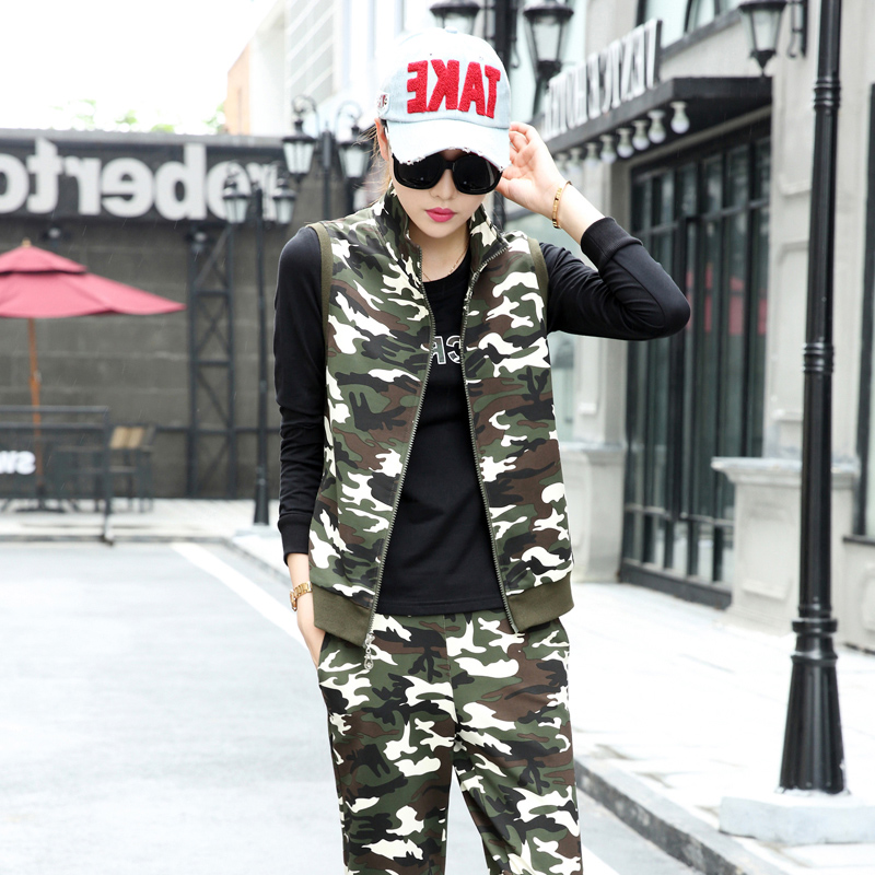Korean fashion leisure sports three sets of couples suite 2016 autumn new brand fashion lovers camouflage