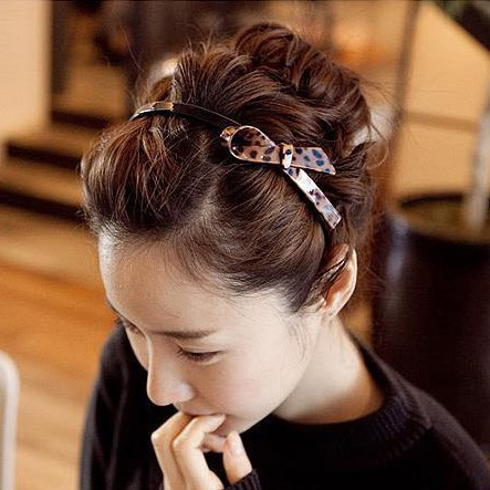 Korean fashion trend leopard slip toothed models fine hair bands headband hairpin hairpin hair clasp sweet bow head buckle