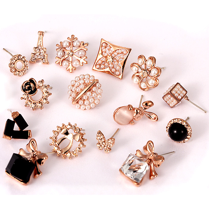 Korean fashion wild alloy earrings earrings earrings female korean jewelry crystal earrings with pearl rhinestone