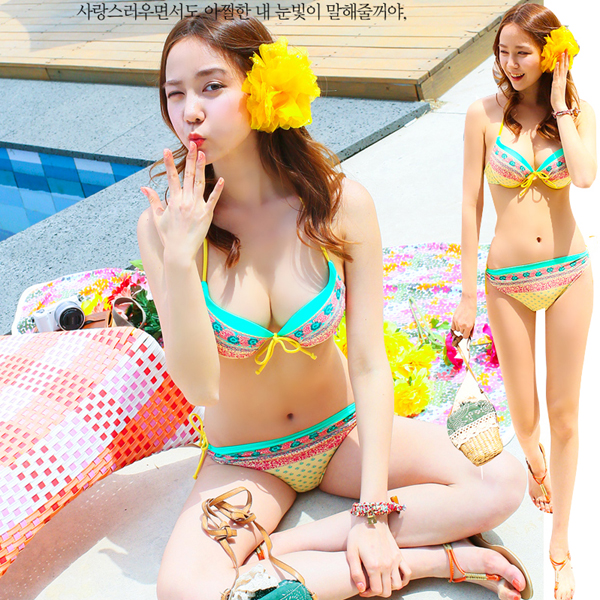 Korean female swimsuit small chest gather steel toby gini three piece swimsuit sexy female steel prop with a chest pad
