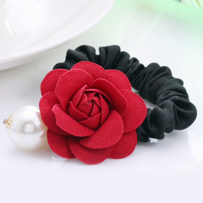 Korean hair accessories pearl hair rope hair ring high elastic rubber band head flower head tousheng korean jewelry rose flower
