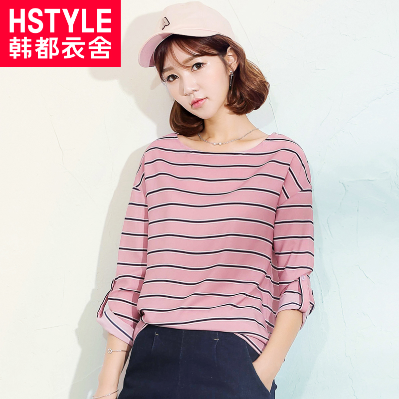 Korean homes have clothes 2016 autumn new korean summer casual loose t-shirt female summer dress round neck striped long sleeve t